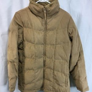 LL Bean Coat Jacket Brown Goose Down Quilted